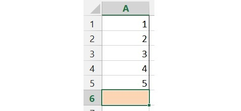 Using AutoSum by selecting the blank cell underneath the data