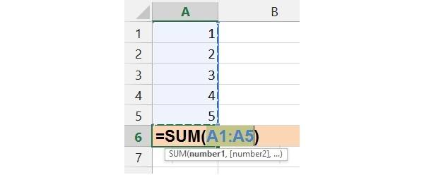 AutoSum guesses the data range to use and asks you 'Is this data range correct?'