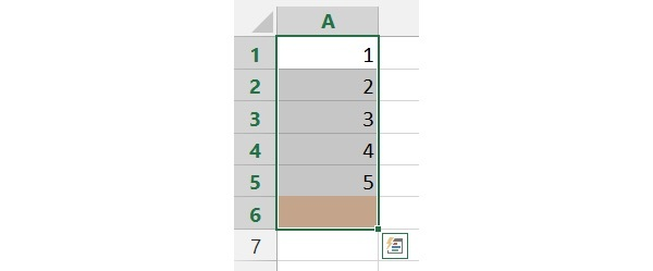 Using AutoSum by selecting the all the data cells and the blank cell underneath the data