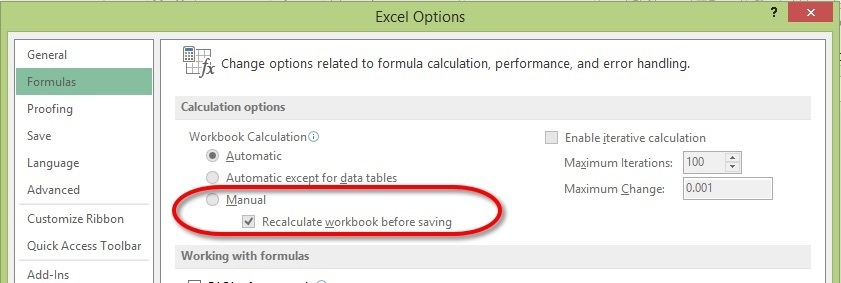 Switch to manual calculations