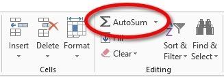 The AutoSum Button