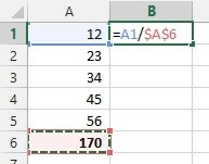 Percentage formula with absolute cell reference