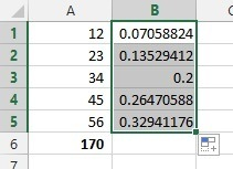 Results currently showing as decimal figures