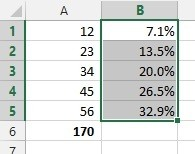 Results now displayed as percentages