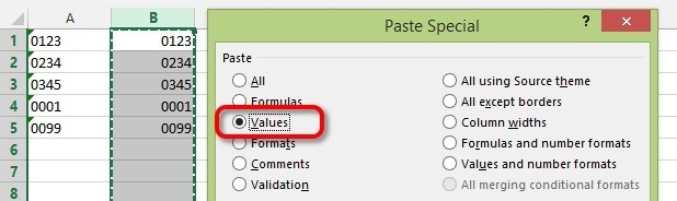 Select the column of data, COPY, then PASTE SPECIAL the VALUES over the same cells