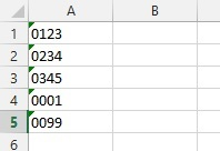 Numbers start in text format