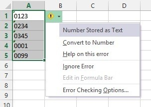 Numbers stored as text