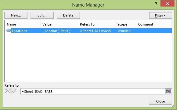 Name Manager dialog
