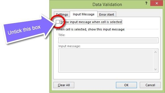 The Input Message tab