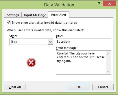 The Error Alert tab