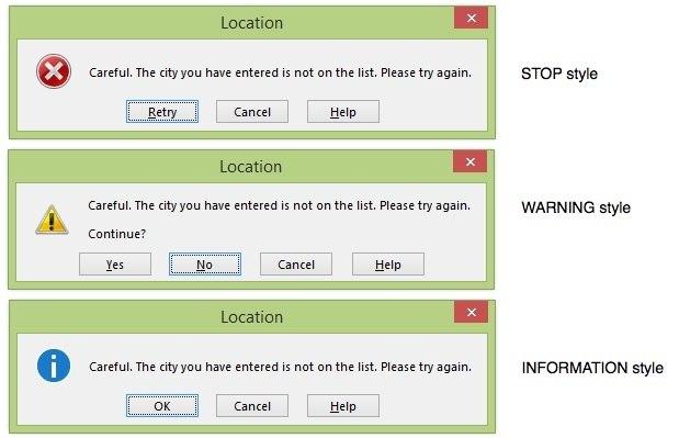The 3 different Error Alert styles