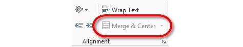 Merge & Center is deactivated when Format As Table is used
