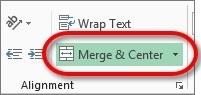 The Merge & Center icon