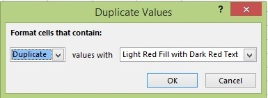 Choose how you would like to format any duplicate cells found