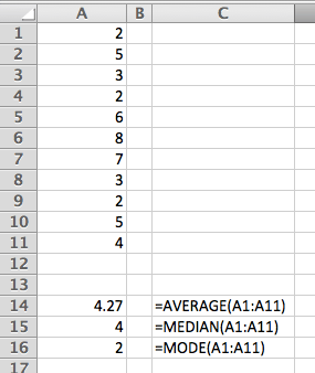 3 different types of average in Excel