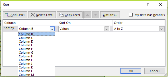 Figure 21 - Sort By shows column letters