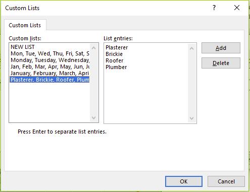 Figure 18 - The new custom list