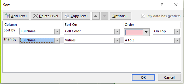 Figure 15 - Sort Fullname by cell colour then by value