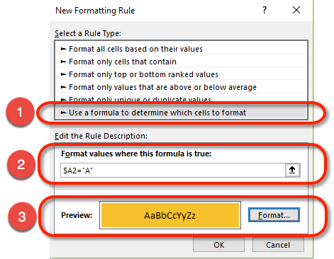 Write a Conditional Formatting formula