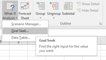 Where to find the Goal Seek tool