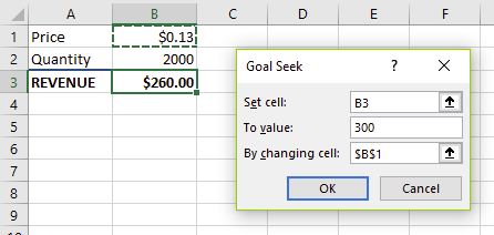 A completed Goal Seek dialog