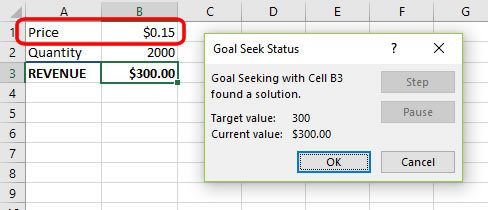 The new price projected by Goal Seek
