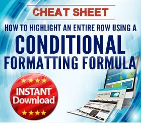 Cheat Sheet - Highlighting a row using conditional formatting