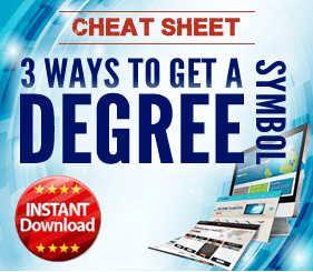 How to get a degree symbol in Excel
