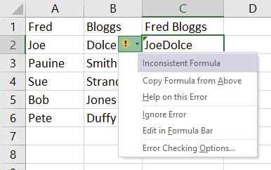 Green triangle indicates inconsistent formula