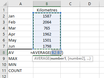 Figure 03: The AVERAGE Function