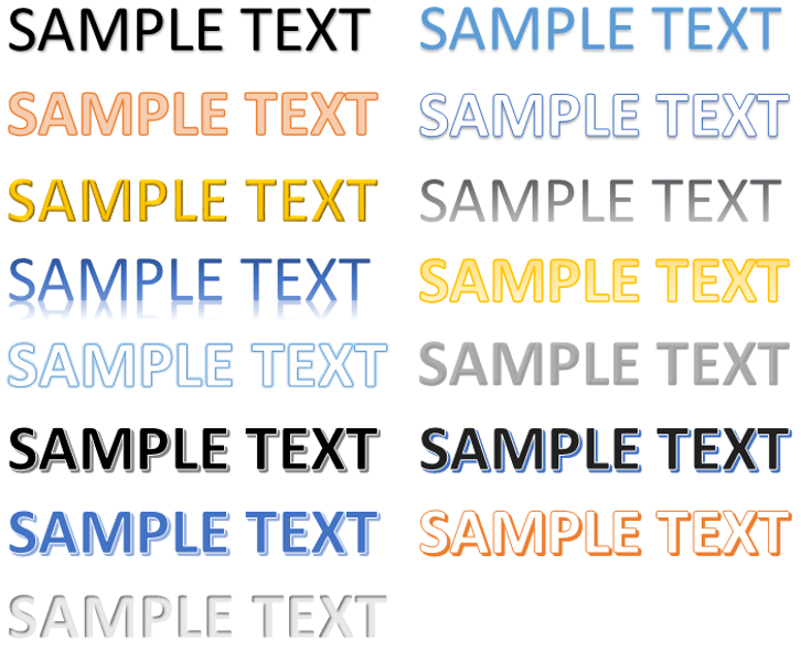 Some example of Text Effects and Typography (WordArt) in Word