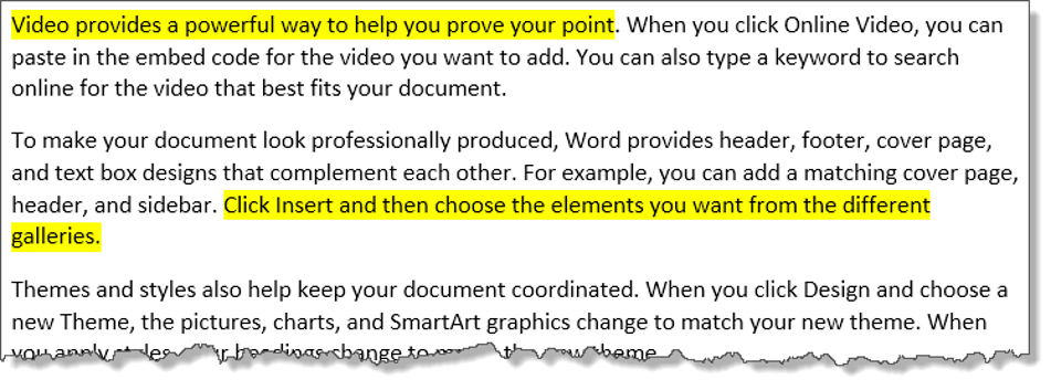An exaple of highlighted text in Word