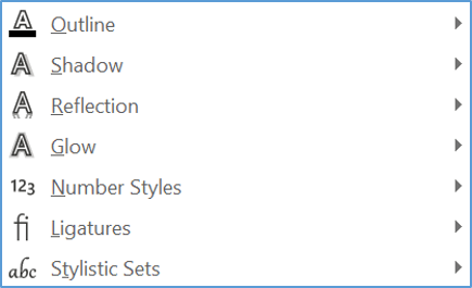 Customise the Text Effects and Typography (WordArt) settings in Word