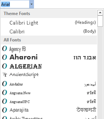 Select a new font from the Font dropdown box