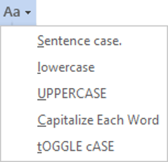 Change the case of text in Word