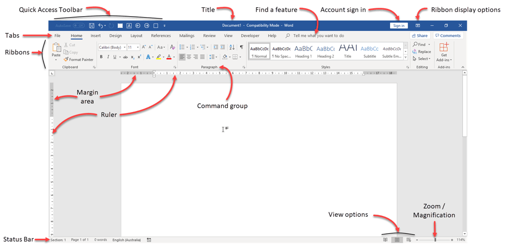 Birds-eye view: Key components of the Microsoft Word screen