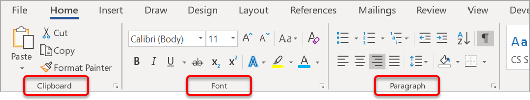 Commands are organised into groups. Group names appear at the bottom of the ribbon and are separated by vertical dividers.