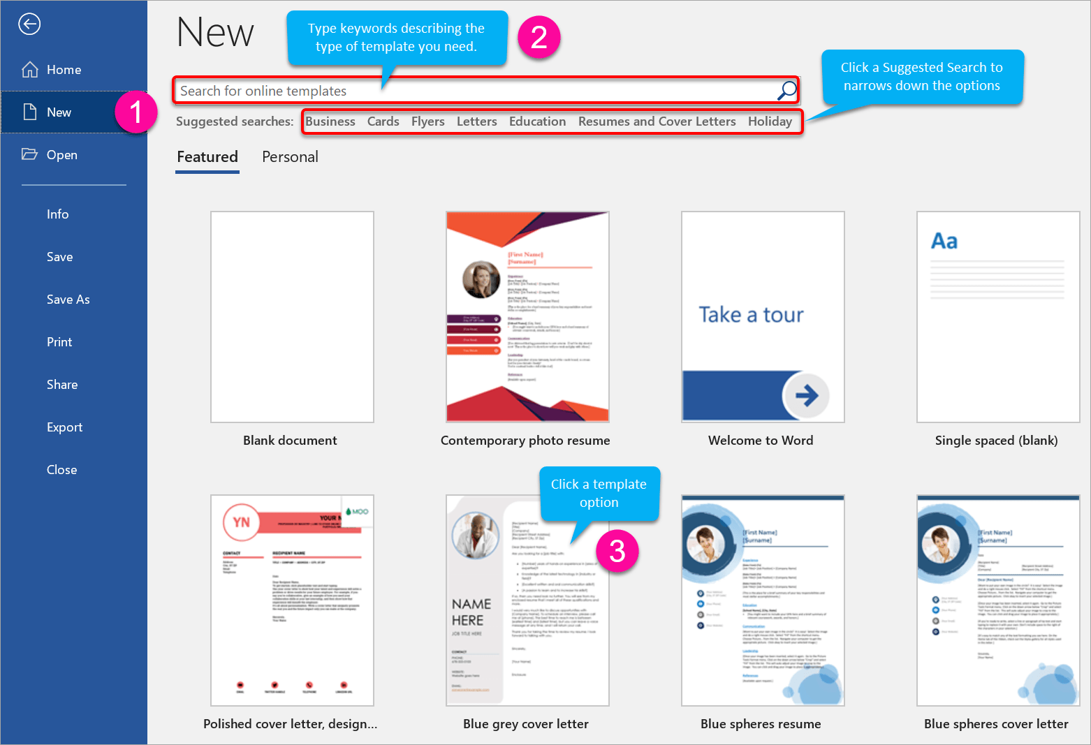 How to create a new Word document from a template