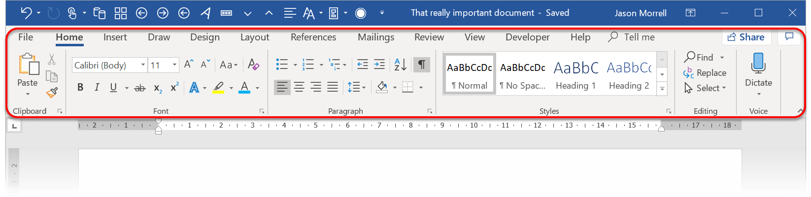 The 'Show Tabs and Commands' option in Word