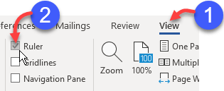 Switch Word's ruler on or off using teh Ruler checkbox on the View ribbon