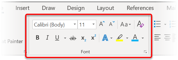 The FONT group on the Home ribbon