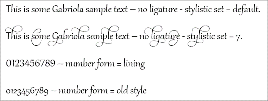 Ligatures and stylistic effects for the Gabriola font