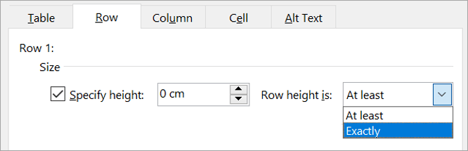 Changing row height
