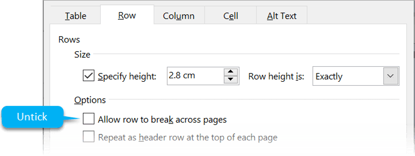 Preventing row content splitting between 2 pages