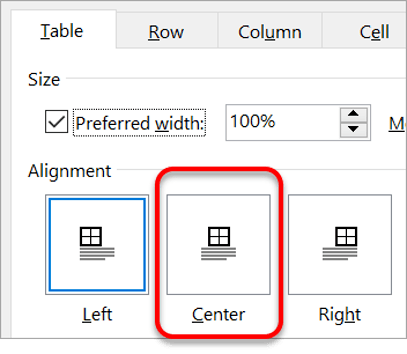 Positioning a table on the page