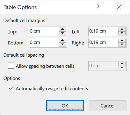 Working with cell margins