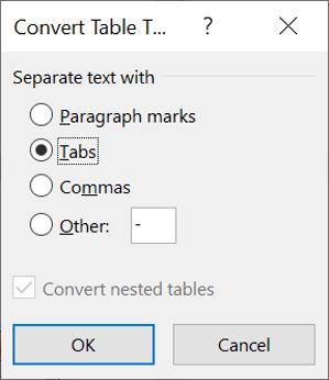 Convert a table into text