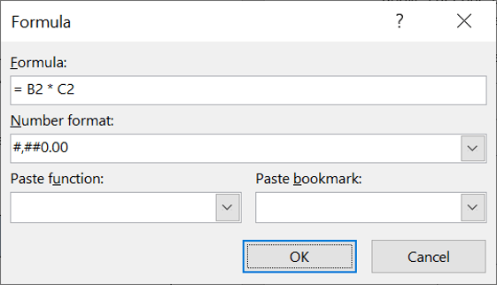 Creating excel-style formulas in a word table