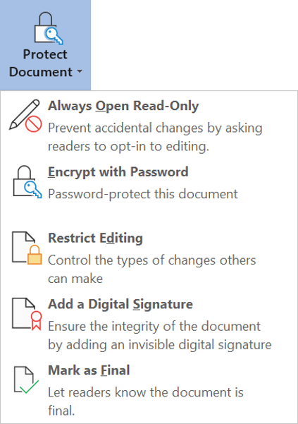 Protect Document settings in the Backstage