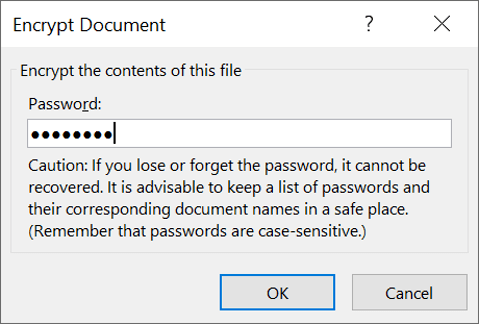 Encrypt document with a password